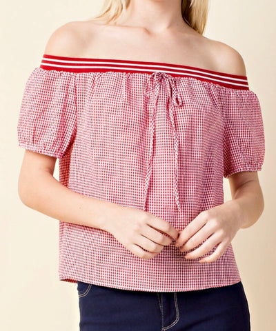 Red Gingham Short Sleeve Off the Shoulder Top with Elastic Ribbon Trim