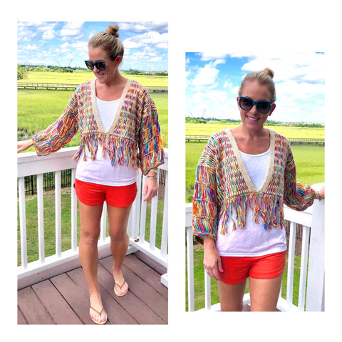 Rainbow Fringe Knit Closed Bolero Sweater