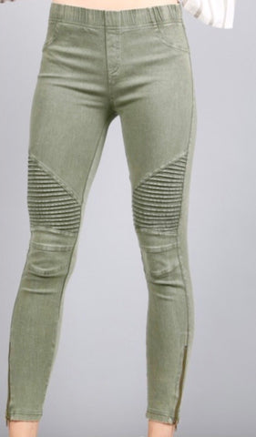 Stretchy Side Zip Moto Leggings, Olive Green