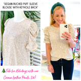Sequin Ruched Puff Sleeve Blouse with Keyhole Back
