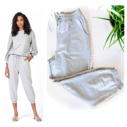 Heather Grey Soft Knit Cropped Joggers with Ivory Ruffle Trim