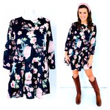Black Floral Print Ruffle Hem Dress with Banded Sleeves & Keyhole Back