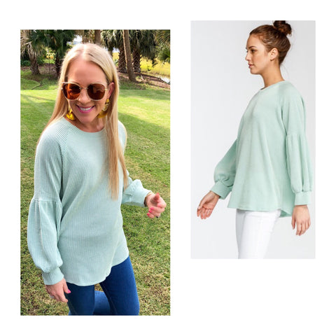 Mint Balloon Sleeve Ribbed Raglan Knit Top
