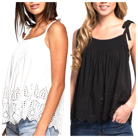 Black OR White Eyelet Sleeveless Top with Shoulder Ties