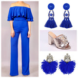 Royal Blue Off the Shoulder 2 Piece Matching Pants Set