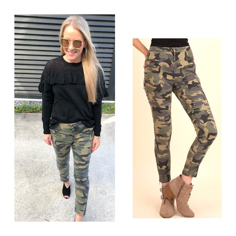 Camo Moto Pants with Ankle Zip & Front Pocket Zip Detail