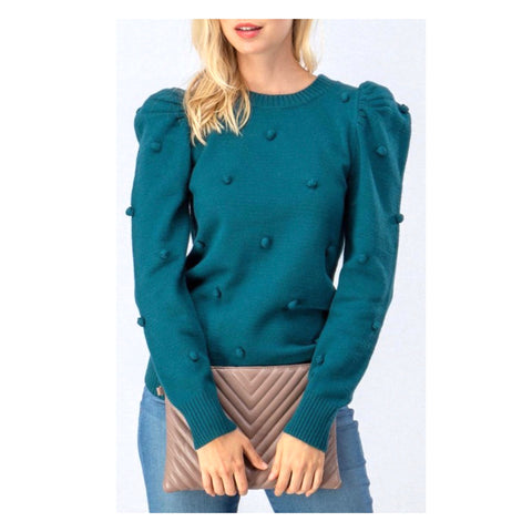 Jewel Tone Teal Micro Pom Ruched Bubble Sleeve Lightweight Knit Sweater