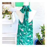 Troop Palm Springs Pink & Green Palm Leaf Bow Tie Halter Maxi with Open Back