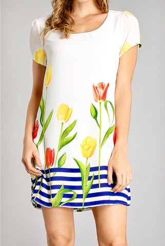 White Cap Sleeve Floral Shift Dress with Royal Stripes