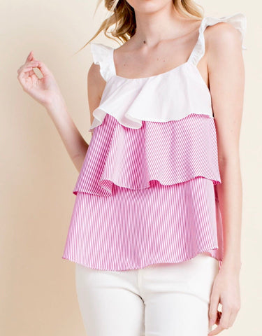 Pink White Stripe Sleeveless Contrast Flutter Hem Top