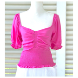 Pink Smocked Puff Sleeve Ruched Front Top