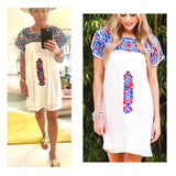 Red White & Blue Embroidered Textile Short Sleeve Dress