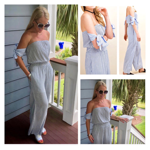 Navy Blue White Stripe Off the Shoulder Jumpsuit with Tie Sleeves