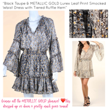 Black Taupe & METALLIC GOLD Lurex Leaf Print Smocked Waist Dress with Tiered Ruffle Hem