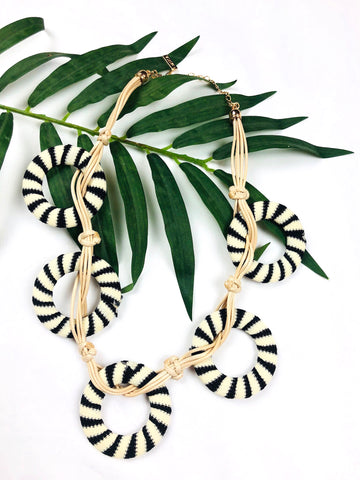 Ivory & Black Wrapped Circle Necklace