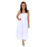 Red OR White Poplin BOW Back Midi Dress with Flower Buttons & Pockets