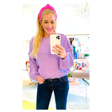 Lavender Honeycomb Knit Balloon Sleeve Sweater