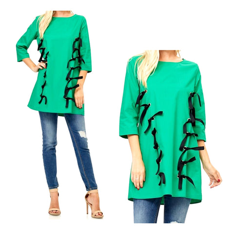 Kelly Green 3/4 Sleeve Tunic Top OR Dress with Grommet & Black Tie Accents