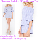 Lavender Circle Dot Pleated Off the Shoulder Top