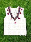 White Eyelet Sleeveless Embroidered Top with Fuchsia Tassels & Scalloped Hem
