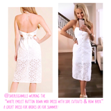 White Eyelet Button Down Midi Dress with Side Cutouts & Bow Back