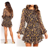 Black Pink & Gold Tiered Ruffle A-Line Dress with Self Tie Waist & Semi Open Back
