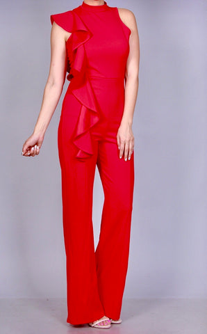 Perfect Red Sleeveless Jumpsuit with Frill Bodice Detail