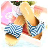 Blue & White Stripe Bow Espadrille Sandals