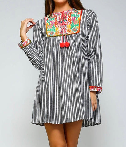 Black White Stripe Embroidered V-Neck Tunic Dress with Pom Pom Tie