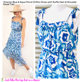 Grecian Blue & Aqua Floral Chiffon Dress with Ruffle Hem & Shoulder Tassel Ties