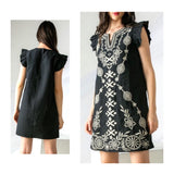 Black Embroidered Flutter Sleeve Shift Dress
