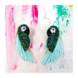 Handmade Green & Mint Beaded Parrot Earrings