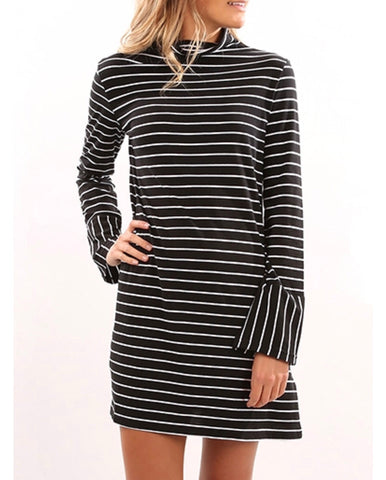 Long Sleeve Black White Stripe Dress with Mock Collar