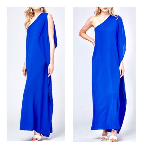 Royal Blue Grecian Draped One Shoulder Maxi Dress