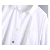 White Collared Button Down Top with Asymmetrical Front Hem & Gold Side Buttons with Pleated Shirred Back