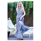 Navy & White Floral Tiered Hem Maxi with Open Tie Back