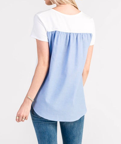 High Low Contrast Top With Blue Stripe Back