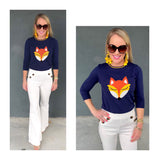 Navy & Orange Knit Fox 3/4 Sleeve Sweater