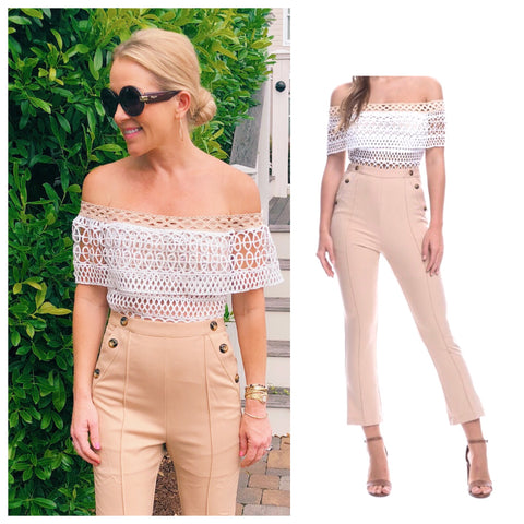 Light Camel Cropped Jumpsuit with Sailor Buttons & Off the Shoulder Peekaboo White Rope Lattice