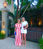 Red White Stripe On OR Off the Shoulder Maxi Dress with Waist Tie