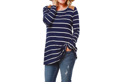 Navy Blue with White Stripes Oversized Tunic with Brown Faux Suede Shoulder Detail