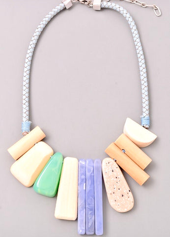 Lavender Jade and Neutral Mixed Wood and Stone Rope Necklace with Adjustable Chain Extension