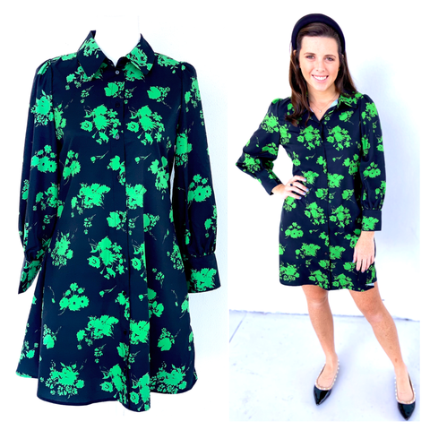 Black & Kelly Green Button Down A-Line Shirtdress