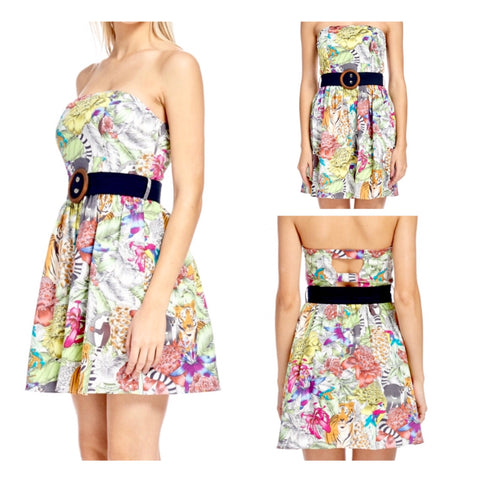 Strapless Floral Tiger Print Dress with Cutout Back & Belt