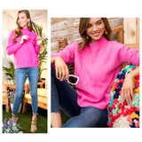 Pink Mock Neck Cable Knit Sweater