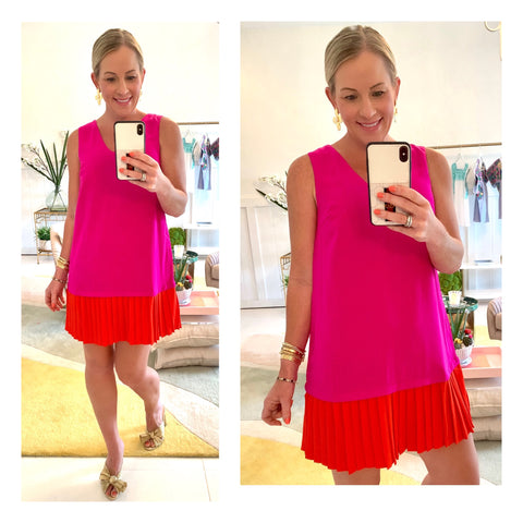 Magenta & Red Pleated Drop Hem Dress with V-Back