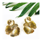Gold Waterlily Earrings