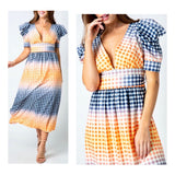 Navy Orange Pink & White Gingham Midi Dress with Puff Sleeves & Front or Back Tie Belt