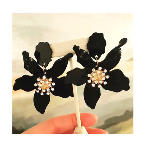 Black Acrylic Flower Drop Earrings with Gold & Rhinestone Center