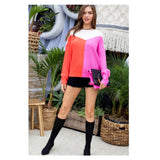 Neon Orange & Pink Ribbed Knit Sweater